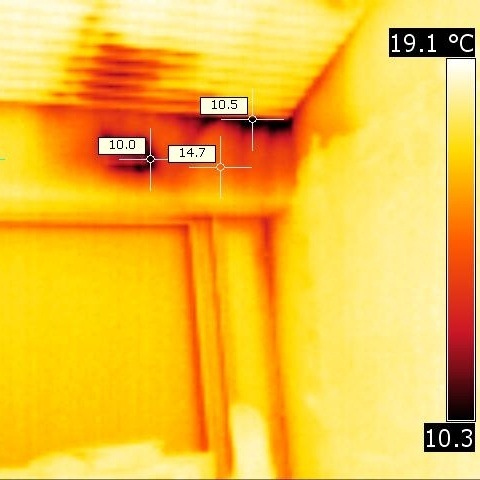 Thermal Image of Building Detecting Flaws in Construction